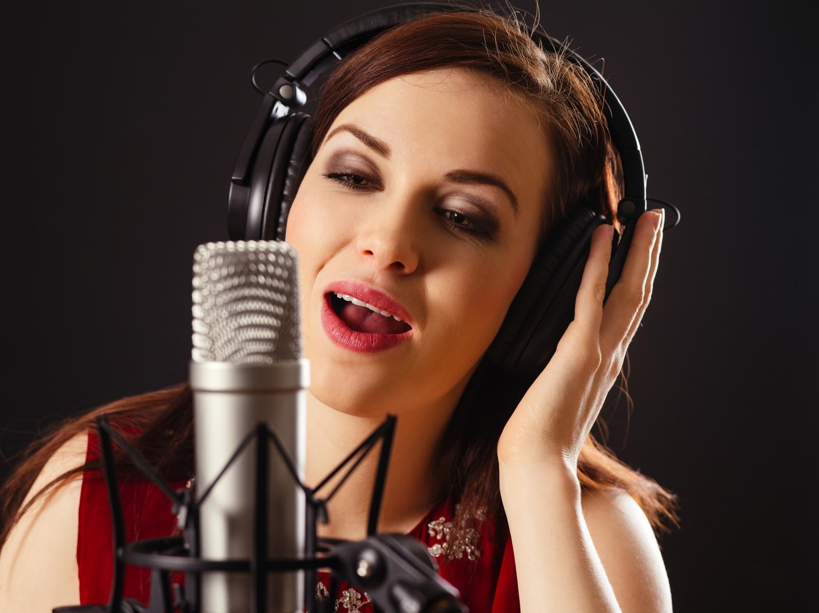 Female Voice Talent Recording Voice Over Track