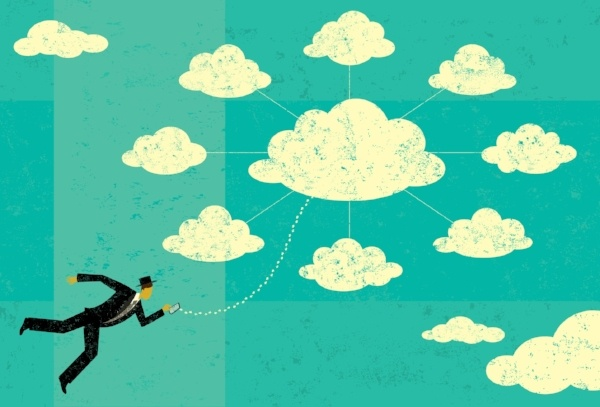 Animation of business man choosing between cloud communication providers