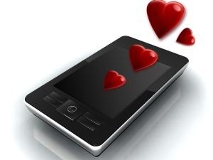 Enterprise mobile phone with hearts symbolizing infatuation