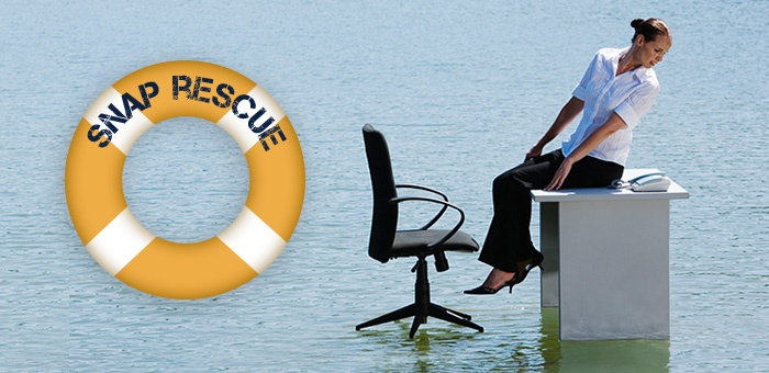 Woman stuck in natural disaster without a personalized telephone greeting for her business