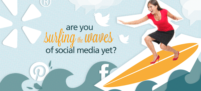 Business woman surfing the waves of social media tips for start-ups and small businesses